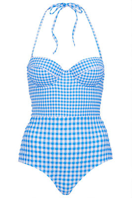 Topshop Blue Gingham Swimsuit
